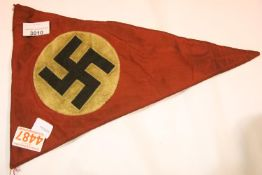 German Third Reich type Nazi Party pennant, L: 36 cm. P&P Group 1 (£14+VAT for the first lot and £
