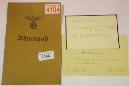 German Third Reich type Ahnenpass canvas covered book, partly completed with an (unknown,