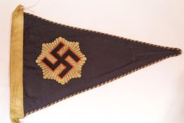 German WWII type RLB Air Raids pennant, L: 34 cm. P&P Group 1 (£14+VAT for the first lot and £1+