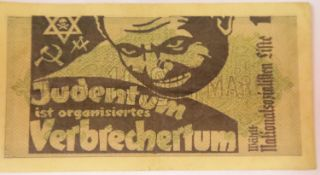 German WWII type Anti Semitic Money. A 1000 Mark note over printed with Jewish is organised crime