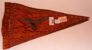 German WWII type Luftwaffe embroidered silk pennant in poor condition. P&P Group 1 (£14+VAT for