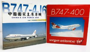 2x Dragon Wings 1:400 Airliners - To Include: Virgin 747-400, Air China 747-4J6 - Boxed. P&P Group 2