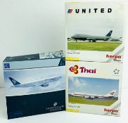3x Herpa /Dragon Wings 1:400 Airliners - To Include: United 747-400, Thai 747-400, Air New Zealand