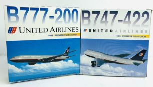 2x Dragon Wings 1:400 Airliners - To Include: United Airliners 747-422, 777-200 - Boxed. P&P Group 2