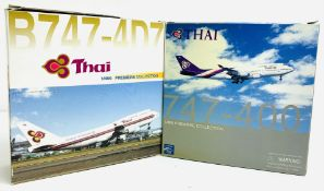 2x Dragon Wings 1:400 Airliners - To Include: Thai 747-400, 747 4DJ - Boxed. P&P Group 2 (£18+VAT