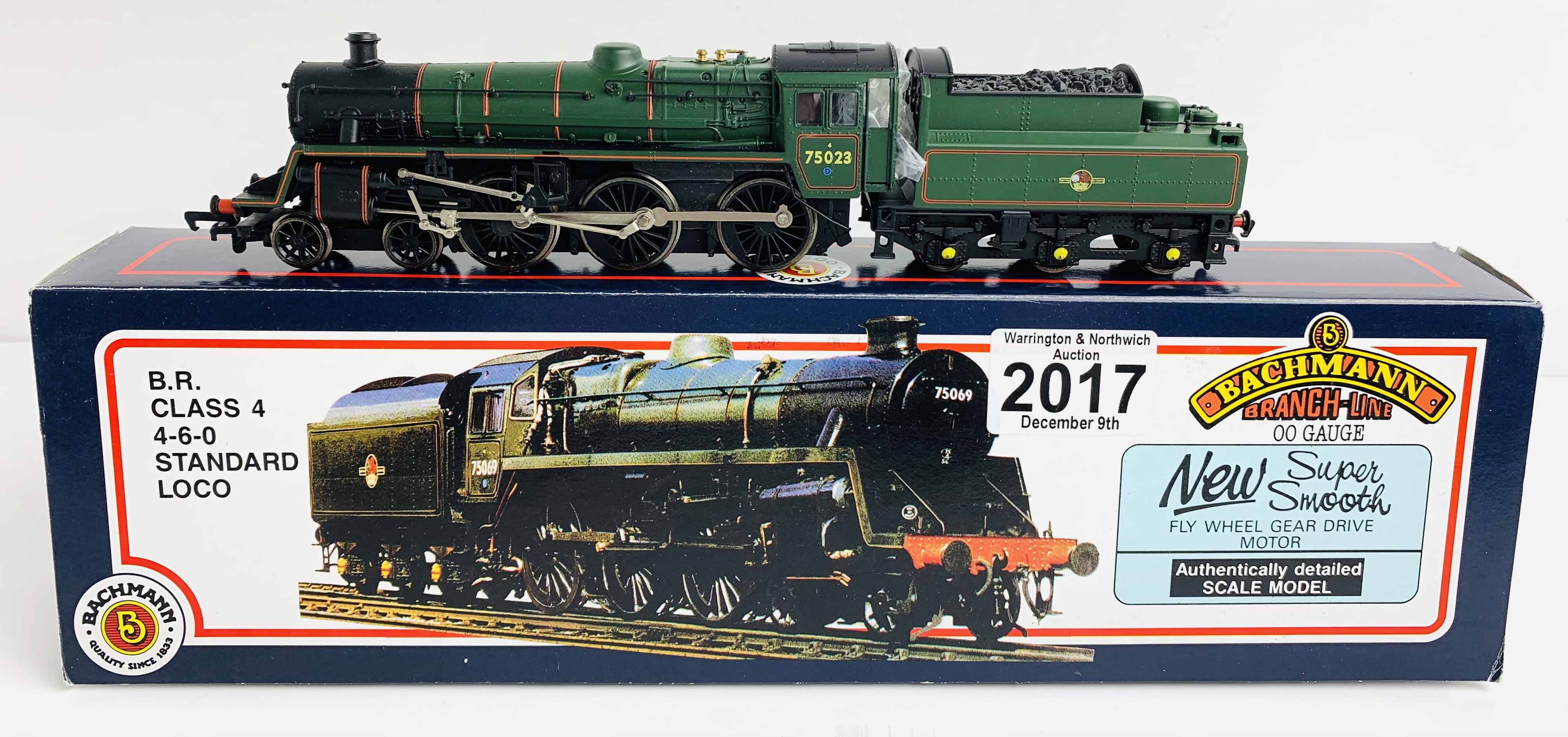 Bachmann 31-101 Standard 4MT 75023 Green Loco - Boxed P&P Group 1 (£14+VAT for the first lot and £