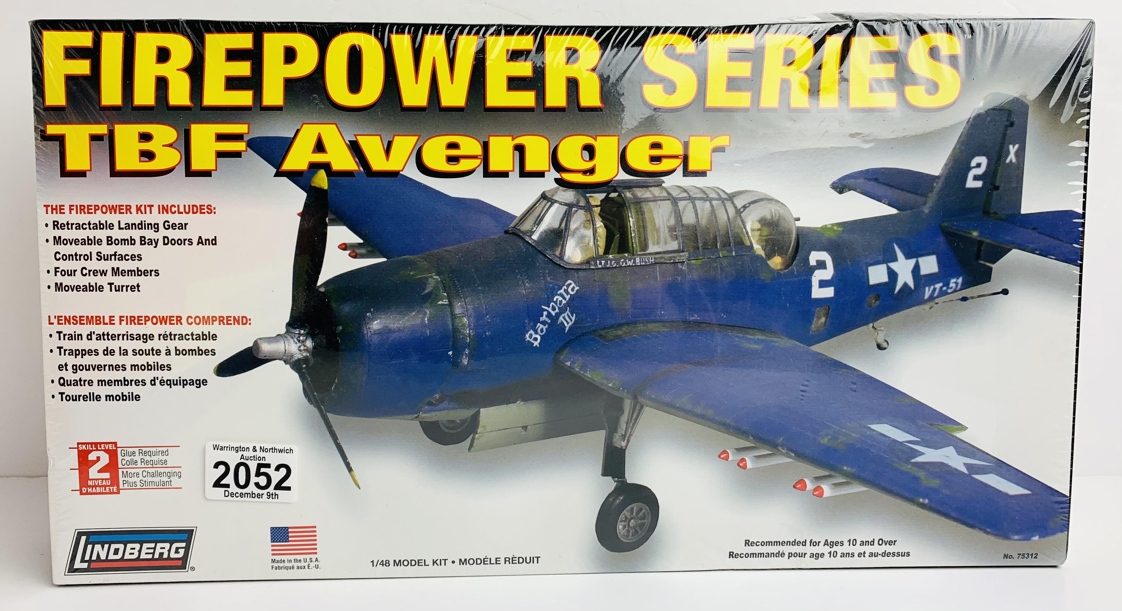Lindberg FirePower Series TBF Avenger Model Kit 1/48 Kit - Boxed P&P Group 1 (£14+VAT for the