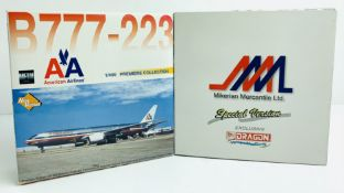2x Dragon Wings 1:400 Airliners - To Include: Air Canada 747-433, AA 777-223 - Boxed. P&P Group