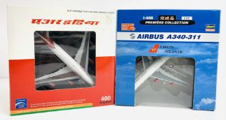 2x Hasegawa / 400 Aviation 1:400 Airliners - To Include: Virgin A340-311, Air India 747-400 - Boxed.