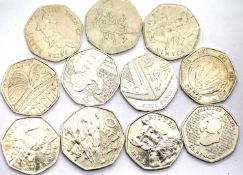 Eleven mixed 50p pieces including Beatrix Potter, Olympics and D Day. P&P Group 1 (£14+VAT for the