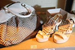 Jack and Celine herringbone pattern handbag with dustbag and Miss Selfridge size S designer shoes.