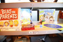 Selection of boxed childrens games to include Scrabble, Beat The Parents etc. Not available for in-