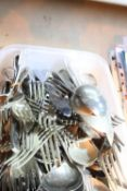 Box of mixed cutlery including plated ware. Not available for in-house P&P