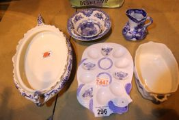 Six pieces of English blue and white ceramics. Not available for in-house P&P