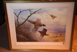 Limited edition print 10/500 by P Allison gilt framed (unglazed), 90 x 70 cm depicting bird of