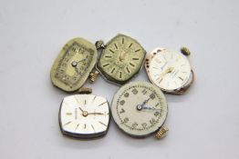 Five automatic watch movements. P&P Group 1 (£14+VAT for the first lot and £1+VAT for subsequent