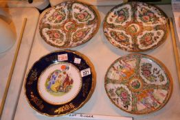 Four cabinet plates including three Oriental, one antique and limoges type plate. Not available