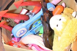 Box of mainly children's toys including teddies, guitars etc. Not available for in-house P&P