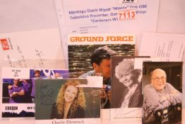Daytime television celebrity autographs, including Katie Price, Liz Dawn, Charlie Dimmock, Alan