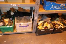 Four boxes of mixed items including tools, glassware and a globe lamp. Not available for in-house