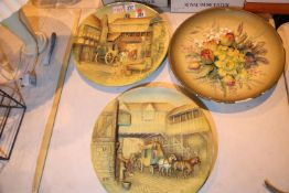 "Three W H Bossons hand painted wall plaques, D: 14"". Not available for in-house P&P"
