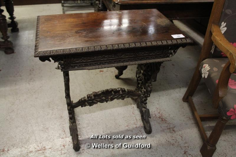Lot 16 - *CARVED OAK SMALL WRITING DESK WITH INTERNAL DRAWER
