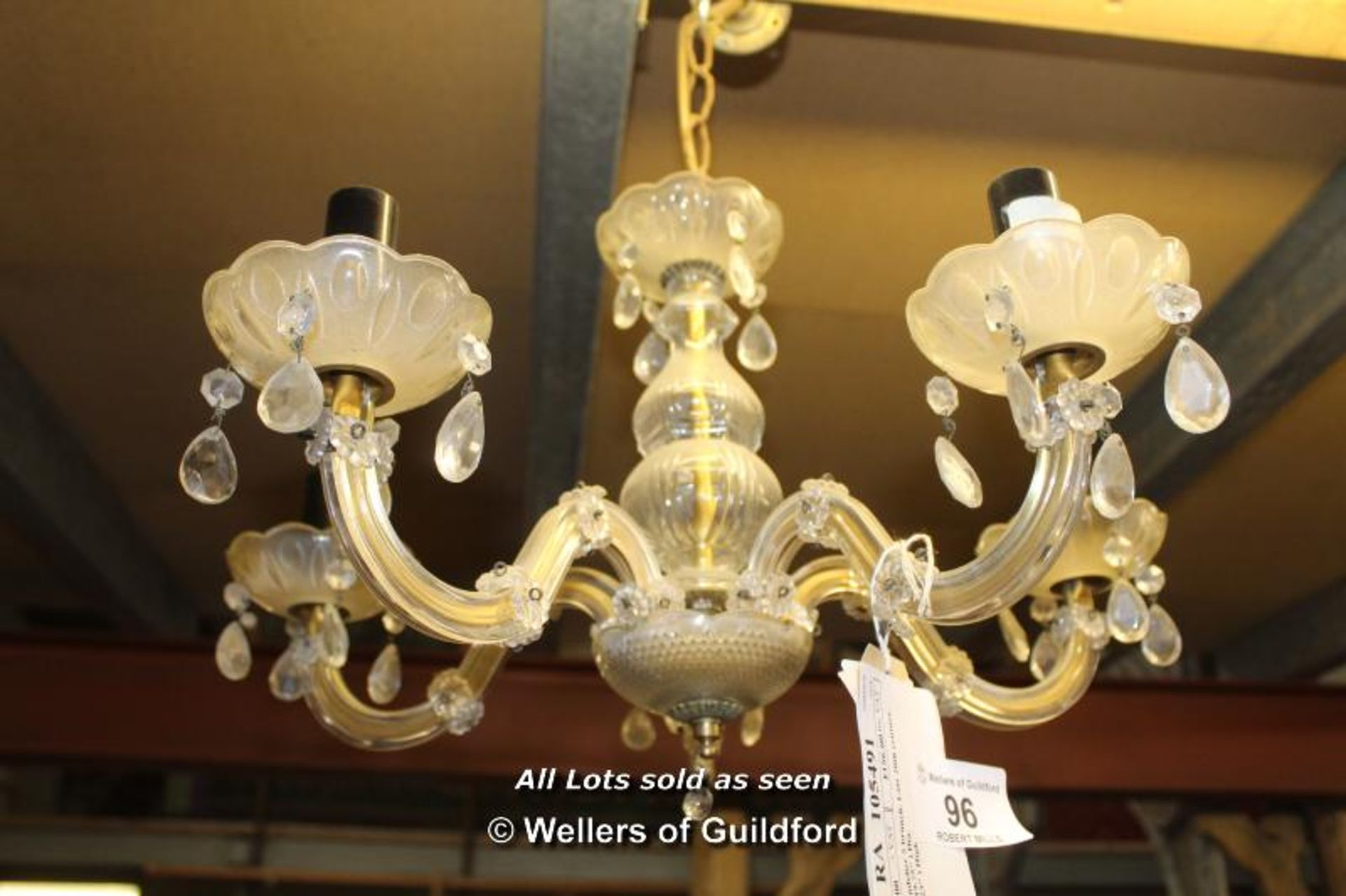 "Lot 96 - *GLASS CHANDELIER FIVE BRANCH, LATE 20TH CENTURY. 500MM ( 19.75"" ) DIAMETER X 585MM ( 23"" ) HIGH ["