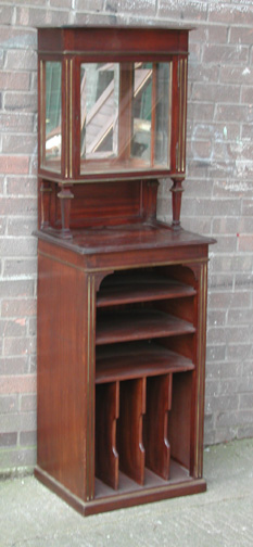 Lot 11 - *MAHOGANY WAITERS STATION/MUSIC CABINET, EARLY 1900'S. HEIGHT 1740MM (68.5IN) X WIDTH 550MM (21.5IN)