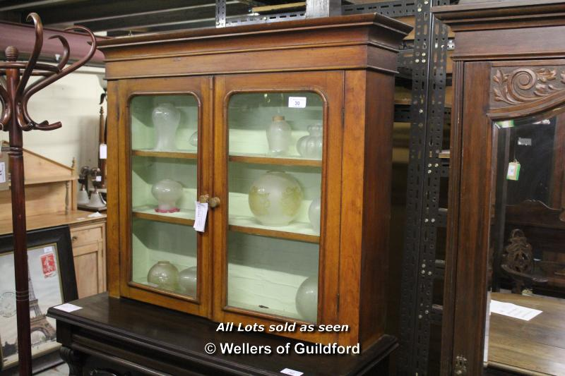 Lot 30 - *OAK GLAZED CUPBOARD (DRESSER TOP) [0]