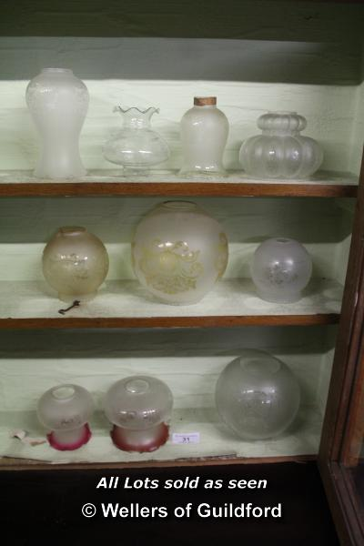Lot 31 - *COLLECTION OF TEN MIXED FROSTED GLASS SHADES
