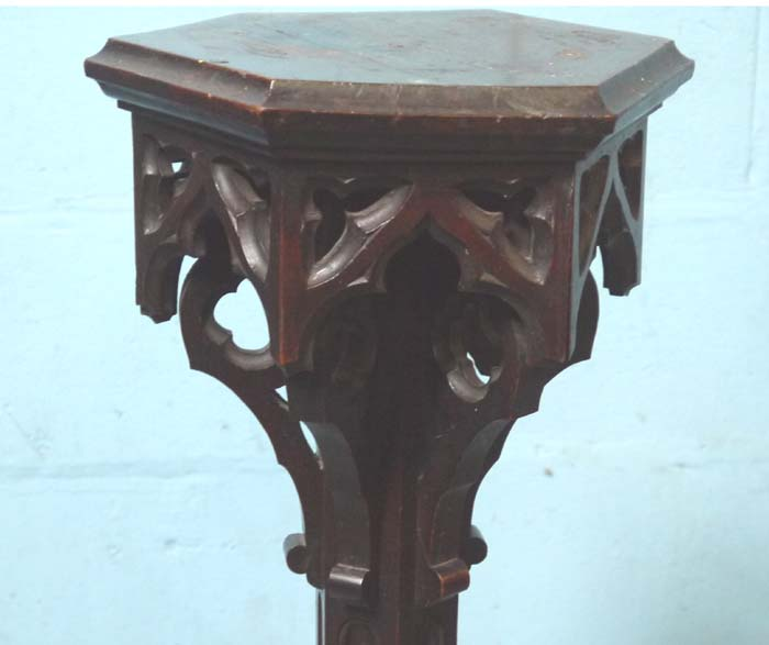 "Lot 1 - *PAIR OF VICTORIAN GOTHIC STANDS. 1220MM ( 48"" ) HIGH. PLINTH 230MM ( 9"" ) WIDE X BASE 360MM ( 14"" )"
