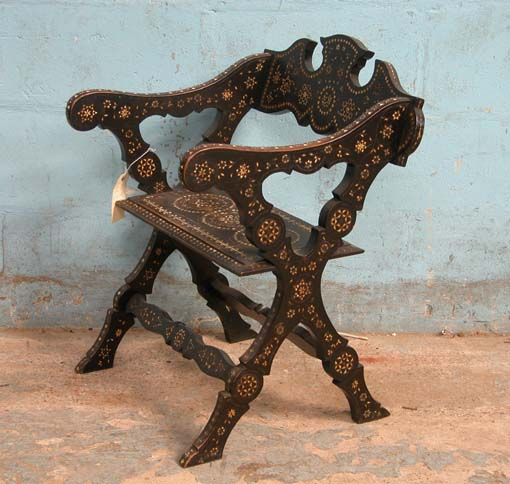 Lot 25 - *WOODEN CHAIR WITH ELABORATE MOTHER OF PEARL INLAID DESIGN, CIRCA 1900. 720MM (28.25IN) HIGH X 510MM