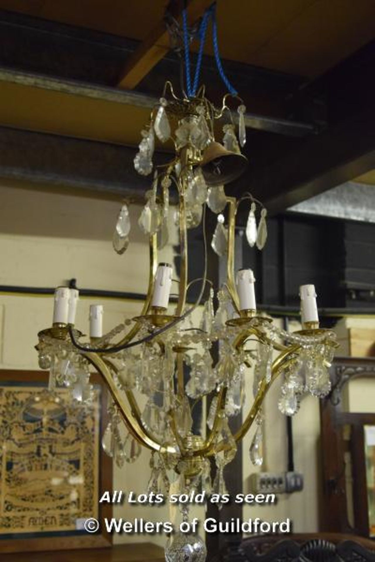 Lot 38 - *PAIR OF LARGE CUT GLASS CHANDELIERS, CIRCA 1930. HEIGHT 1160MM (45.5IN) X DIAMETER 600MM (23.5IN)