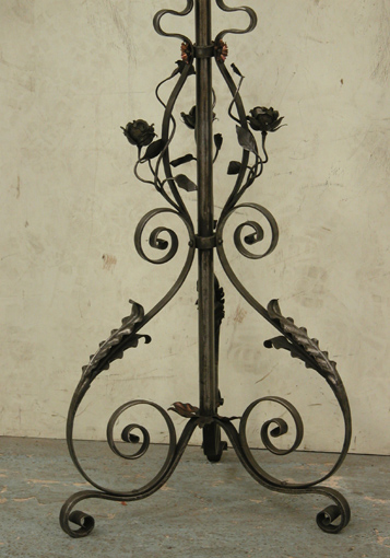 Lot 2 - *VICTORIAN WROUGHT IRON LAMP STAND, CIRCA 1860. HEIGHT 1350MM (53IN) MIN. 2180MM (85IN) MAX. X WIDTH