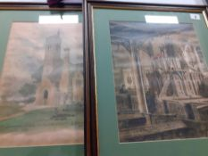 "After J Parker two framed copies of Llanmerewig church and interior.17"" x 20"""