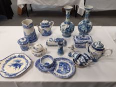 "A pair of delft vases 12""high blue and white spode ware Doulton plate booths part coffee set."