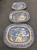 A collection of blue and white meat plates