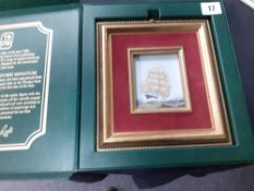 "Thomas Ross London miniature watercolour of a sailing galleon in presentation box 7"" x 7.5"""