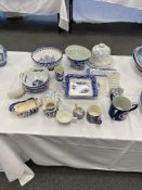 Adams jasperware jug and a qty of other blue and white pottery.15 items