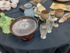 A qty of pottery including doulton bunnykins mugs and plates brass etc aprox 18 items.