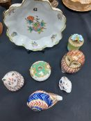 A Herend Hungary hand painted dish Crown Derby Owl, rabbit,cat, snail etc 7 items