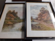 "A pair of coloured prints of cottages 16""x21"" high"