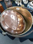 A large brass jam pan and warming pan (handle missing)