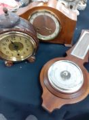 A Victorian wooden cased alarm clock 1950/60 mantle clock and a modern barometer.