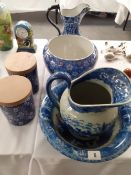 A reproduction blue and white jug and bowl jardinière etc 6 items