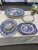 Five Victorian blue and white meat plates and a qty of other blue and white wares. 11 items