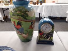 "Old Tupton ware hand painted vase 11"" high together with a matching clock."