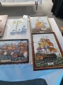 Three framed tile pictures depicting sailing galleons