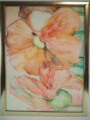 Großes AquarellAuf Papier gemalt, dezente Farben, Darstellung großer Blüten. Rechts unten