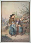 Carl Goebel 1824 Wien-1899 WienAquarell, zwei kleine Mädchen in Frühlingsidylle. Links unten